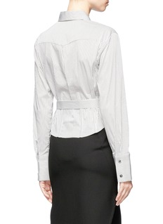 Tome Stripe poplin belted corset shirt