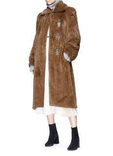 TOGA ARCHIVES Beaded fringe belted faux fur long coat