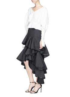 Johanna Ortiz 'Bedunia' sequin trim ruffle pinstripe wool suiting skirt