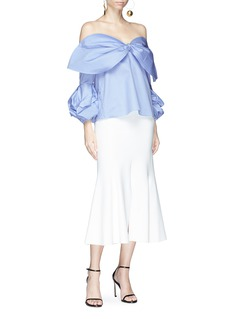 Johanna Ortiz 'Carvan' bow off-shoulder ruffle sleeve top