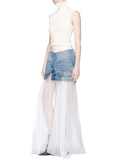 Maticevski 'Humanise' deconstructed denim overlay voile maxi skirt