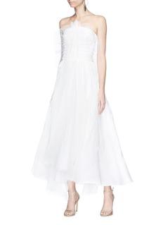 Maticevski 'Spinneret' mesh overlay strapless gown