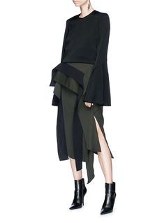 Maticevski 'Inductor' ruffle panelled gabardine pencil skirt
