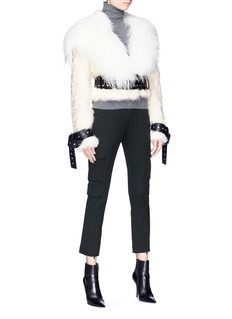 Monse Belted lamb and goat fur jacket