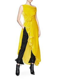Monse Ruched waist high-low velvet top