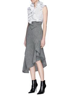Monse Asymmetric drape wool herringbone skirt