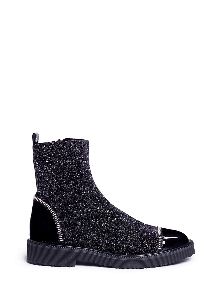 'Hilary' glitter velvet and leather ankle boots