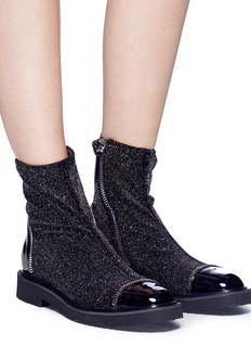 Giuseppe Zanotti Design 'Hilary' glitter velvet and leather ankle boots
