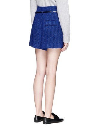 Back View - Click To Enlarge - 3.1 Phillip Lim - 'Origami' drawstring waist pleated bouclé paperbag shorts