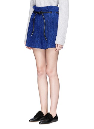Front View - Click To Enlarge - 3.1 Phillip Lim - 'Origami' drawstring waist pleated bouclé paperbag shorts