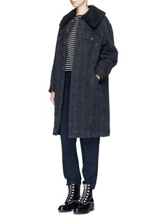 3.1 Phillip Lim Faux shearling sherpa collar denim long coat
