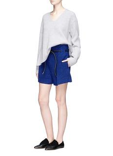 3.1 Phillip Lim Reversed high-low wool-yak rib knit sweater