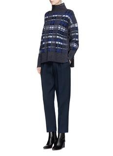 3.1 Phillip Lim Tie side split check plaid rib knit sweater