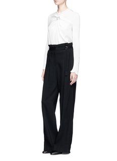 3.1 Phillip Lim Ring embellished rib knit sleeve silk top