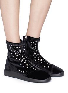 Giuseppe Zanotti Design Glass crystal embellished velvet ankle boots