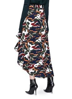 Dion Lee 'Artillery' camouflage print asymmetric ruffle maxi skirt