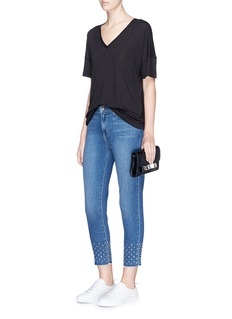 L'Agence 'Angelique' studded cuff cropped jeans
