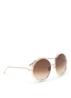Chloé 'Carlina' overlap wire rim round metal sunglasses