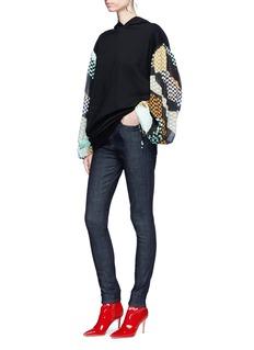 Emilio Pucci Check print chiffon sleeve oversized hoodie