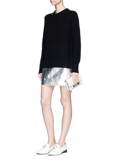 Proenza Schouler Crinkled metallic calfskin leather mini skirt
