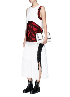 Proenza Schouler Arched hem colourblock plissé pleated crepe skirt
