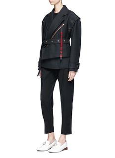 Proenza Schouler Logo zip pull lapel overlay suiting jacket