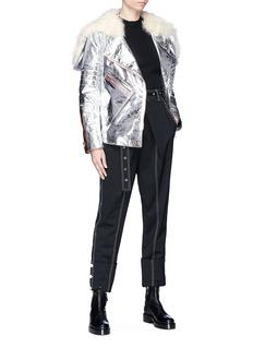 Proenza Schouler Lambskin shearling hood metallic leather belted biker jacket