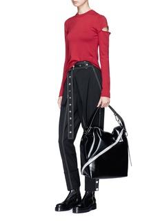 PROENZA SCHOULER 镂空衣袖混美丽诺羊毛不对称针织衫