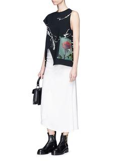 Proenza Schouler Rose print paint splatter asymmetric jersey top