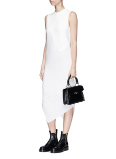 Proenza Schouler Asymmetric mixed knit patchwork dress