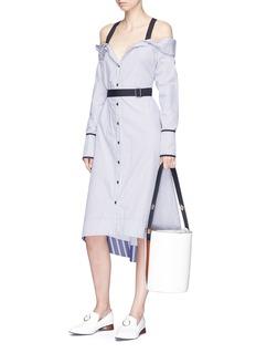 Proenza Schouler Off-shoulder belted stripe dress