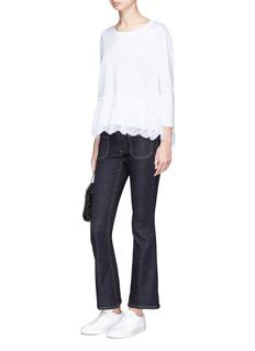 Stella McCartney Lace peplum hem long sleeve T-shirt