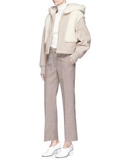 Stella McCartney Colourblock faux shearling hooded jacket