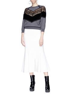Stella McCartney Guipure lace and velvet panel sweatshirt