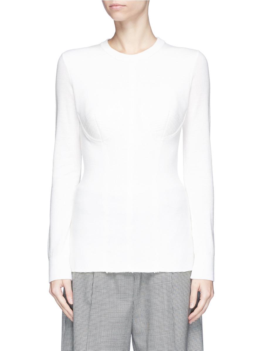 0025233341b Virgin Wool Rib Knit Sweater, White