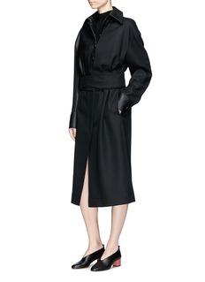 Stella McCartney Alter nappa leather panel wool long coat