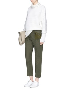Stella McCartney Faux suede insert cropped cargo pants