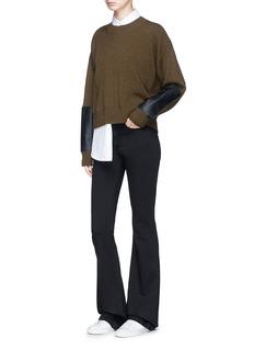 Stella McCartney Faux leather patch wool rib knit sweater