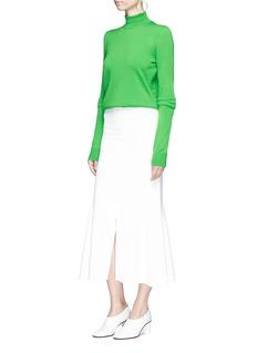 Stella McCartney Quilted sleeve oversized virgin wool turtleneck sweater