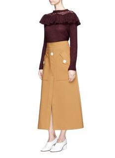Stella McCartney Crochet ruffle trim brushed mohair blend sweater