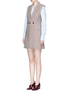 Stella McCartney Sleeveless layered front houndstooth wool coat dress