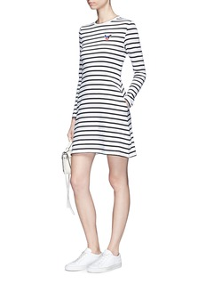 Etre Cecile  French bulldog patch stripe A-line jersey dress
