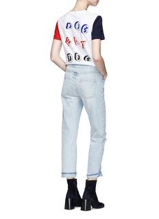Etre Cecile  'Dog Eat Dog' velvet flock colourblock T-shirt