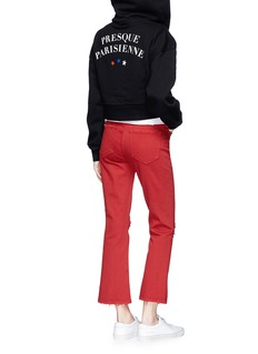Etre Cecile  'Presque Parisienne' French bulldog patch cropped zip hoodie