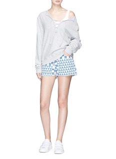 Denham 'Monroe' geometric print denim shorts