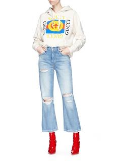 GRLFRND 'Linda' distressed high rise pop cropped jeans