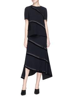RHIÉ 'Spiral' stripe asymmetric suiting skirt