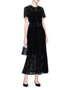RHIÉ Floral flocked velvet guipure lace long skirt