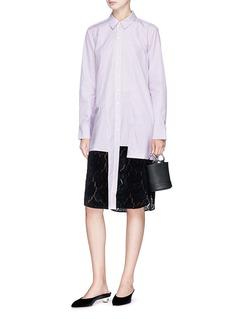 RHIÉ 'Frances' flocked velvet lace hem stripe shirt dress