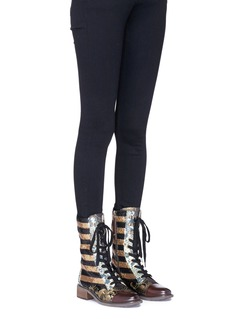 Sam Edelman 'Daphne' sequin stripe panelled mid calf boots
